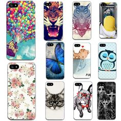 Cut Animal Covers For Iphone7 Plus 6 6S 5 5S SE 4 4S Cases Silicon TPU Soft Cat Dogs Tiger Cases For Iphone 7 7Plus Phone Bags