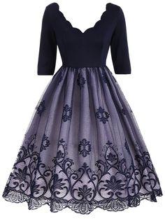 Floral Lace Panel V Neck Vintage Dress - DEEP BLUE 2XL