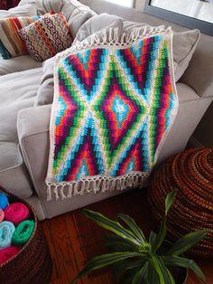 Modern Bohemian Baby Blanket Crochet Pattern PDF by PrettyPeaceful