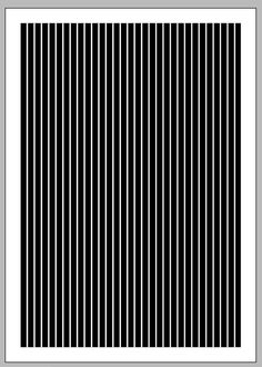 Original scanimation grid I created that uses a 1mm gap and 5mm black bars. The bars have to be 5 times as wide as the clear gaps to synchronise with the six frames of the image underneath. So, knowing the relationship between the numbers I can scale the bar sizes up and down if needed.