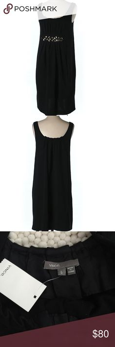 """NWT- Vince Wool Dress NWT- Gorgeous Vince Wool Dress. 34""""chest and 25"""" long. Shift/sheath silhouette. Pleaded and beautiful detailing below chest.  Black, 100% wool. Vince Dresses"""
