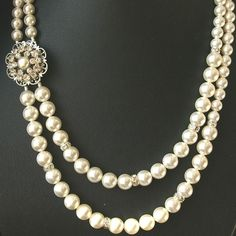 Pearl Bridal Vintage Wedding Jewelry Pearl Necklace by luxedeluxe, $88.00
