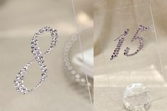 Clear Plexiglass Table Numbers with Clear Swarovski by tangedesign, $12.95