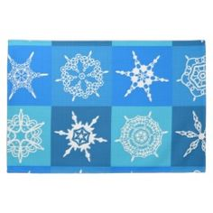 Blue Snowflake Tile Christmas Pattern Gifts Kitchen Towels