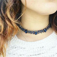 Joy Statement Necklace in Blue #collar #sparkling #fashion -  24,90 € @happinessboutique.com
