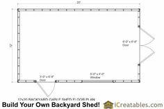 12x20 backyard storage shed floor plan