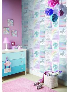 Bring a sprinkle of sparkle to any room with the wonderful unicorn collage wallpaper by Arthouse. In pretty pastel colours, it's covered in magical rainbows, clouds and magical unicorns, with glitter highlights to add a hint of fairy-tale charm.Depth: 7.2 MMHeight: 1005 CMMaterial Content: Paper SubstrateWidth: 53 CM• Encased Glitter• Pattern repeat: 53cm - Off set 26.5cm• Suitable for toddler to teen• Can be used as a feature wall or 4 wall product• Full hanging instructions on reverse of…