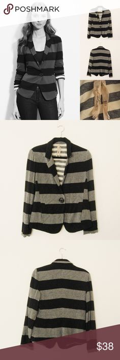 "Bailey 44 One Button Striped Knit Blazer ANTHROPOLOGIE Bailey 44 ""Jib"" Striped One Button Knit Blazer. Size L. Great condition! Features: Side seamed pockets/lined/dry clean only Materials: Rayon/Spandex ⚜❌SWAP❌TRADE ⚜✔️❤️Bundles📦 ⚜✔️Clean/Smoke-free/pet-free home Anthropologie Jackets & Coats Blazers"