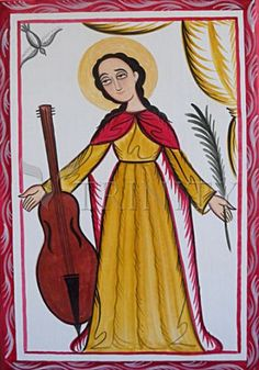 """St. Cecilia   Catholic Christian Religious Art - Retablos by Br. Arturo Olivas, OFS - From your Trinity Stores crew, """"St. Cecilia pray for us!"""" Santa Cecilia, Catholic Saints, Patron Saints, Patron Saint Of Music, Native American Ancestry, Pueblo Indians, New Mexican, Folk Dance, Sacred Art"""