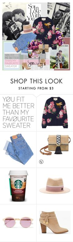 """""""Chapter 23: So In Love With You"""" by summervintage ❤ liked on Polyvore featuring Gucci, Levi's, Stella & Dot, Maison Michel, Sheriff&Cherry and White House Black Market"""