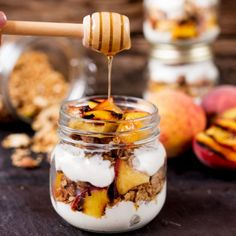 Crunchy homemade granola, layered with Greek yogurt and caramelized peaches. The BEST breakfast ever!