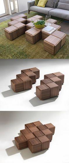 Decor of Modular Coffee Table Cliff Spencer Wine Oak Modular Cube ...