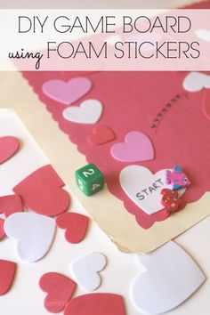 School Time Snippets: DIY gameboard using foam stickers! Adaptable to any theme, but this Heart Gameboard is great for Valentine's Day! Pinned by SOS Inc. Resources. Follow all our boards at pinterest.com/sostherapy/ for therapy resources.