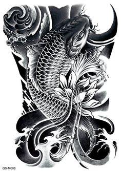 Koi Tattoo/temporary tattoo flash tattoo fake by FlashTattoosLA Koi Dragon Tattoo, Pez Koi Tattoo, Carp Tattoo, Dragon Tattoos, Neue Tattoos, Bild Tattoos, Body Art Tattoos, Sleeve Tattoos, Maori Tattoos