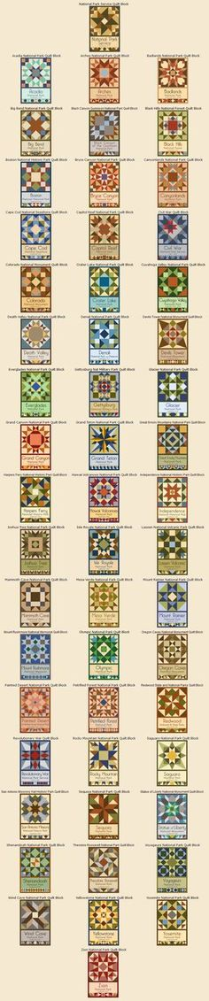 National Park Service Centennial Quilt Block Series by Susan Davis, owner of Olde American Antiques and American Quilt Blocks *Appalachian Trail for Amy Barn Quilt Patterns, Pattern Blocks, Quilting Patterns, Quilting Projects, Quilting Designs, American Quilt, Sampler Quilts, Barn Quilts, Square Quilt