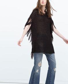 fringed poncho More Ponchos Frange, Mood Boards, Fringes Ponchos, Natural Labs, Compras 2015, Fashion National, Blankets Sweaters ZARA - SALDI - PONCHO FRANGE ZARA - WOMAN - FRINGED PONCHO