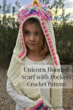 Crochet Scarf Patterns Unicorn Hooded Scarf with Pockets Crochet Pattern - Crochet Unicorn Pattern- 32 Free Crochet Patterns - DIY Hooded Scarf Pattern, Crochet Hooded Scarf, Crochet Hoodie, Hoodie Pattern, Crochet Shawl, Crochet Vests, Crochet Edgings, Blanket Crochet, Knitted Shawls