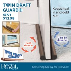 "TWIN DRAFT GUARD (R) from Regal Gifts Double-sided insulating miracle that's guaranteed to create an airtight seal. Fits doors and windows up to 36'wide and moves with the door when opening or closing so there's no repositioning. Saves energy all year round by blocking cold drafts, heat, noise or bad odours. Durable cover is removable and machine washable. Trim to fit. 36""L x 4-1/2""W x 1-1/4""H Product Number: 63771 http://www.Regal.ca"