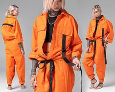 One piece overalls this is a very special kind of clothing, which has recently appeared in the women and men wardrobe. The mechanic jumpsuit designed in futuristic style. Very bright and fashionable model of orange overalls will take a worthy place in yo Style Urban, Urban Street Style, Street Styles, Style Streetwear, Streetwear Fashion, Mechanic Jumpsuit, Style Hip Hop, Men's Style, Inspired Outfits