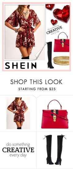 """""""V Neckline Floral Tie Waist Wrap Playsuit"""" by deni1977 ❤ liked on Polyvore featuring Gucci, WALL and Forever Link"""