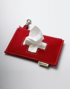 Tissue Pocket in  Swiss flag design   Taschentuchtasche in Form der Schweizer Fahne by Iris Zohar