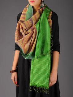 Green-Beige-Burgundy Tussar Silk Ikat Stole - Buy > > Green-Beige-Burgundy Tussar Silk Ikat Stole Online at Jaypore.com