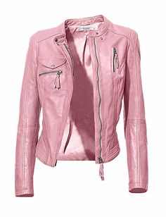 ZUCCHERO - Leather jacket in our Fashion Shop at heine.co.uk Grey Leather Jacket, Pink Leather, Elegant, Jackets, Shopping, Fashion, Classy, Down Jackets, Moda