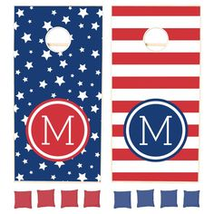 Custom designed corn hole lawn game set with a modern patriotic red white and blue American flag stars and stripes pattern and your custom monogram or other text in a stylish quatrefoil frame. Click Customize It to change text fonts and colors or add your own images to create a unique one of a kind design!