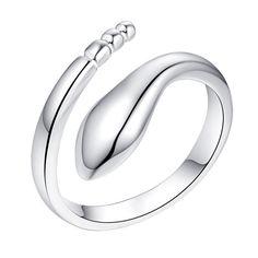 Envío libre de la serpiente de plata anillo abierto para las mujeres accesorios de joyería de moda de plata anillo de regalo de navidad para el amigo al por mayor brincos