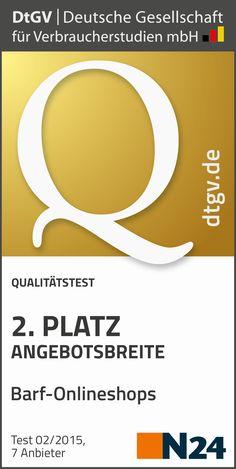 BARF Service Award 2015   2 Platz Angebotsbreite Barf Onlineshops