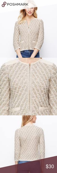 ANN TAYLOR MARLED SWEATER JACKET NWOT Sophisticated Petite Ann Taylor Marled Sweater Jacket NWOT. Leather (imitation) accent on shoulders and pockets. Absolutely gorgeous piece you can wear with jeans or dressed up for the office or going out! Size Petite Small. Ann Taylor Jackets & Coats
