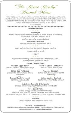 menu for great gatsby party - Google Search