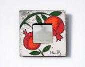 Raku Fired White Ceramic Mirror with Pomegranates