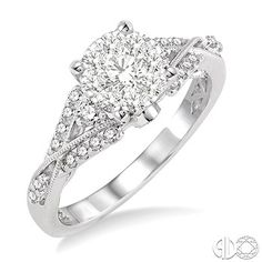1/2 Ctw Diamond Lovebright Engagement Ring in 14K White Gold