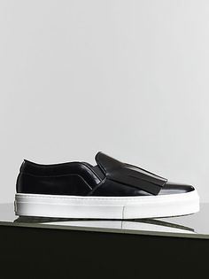 CÉLINE | Winter 2014 Shoes collection - BLACK SPAZZOLATO SKATE FRINGE SLIP-ON