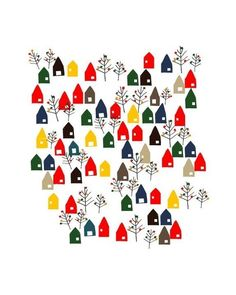 A little Lovely Town Print / Colorful by dekanimal on Etsy, $18.00