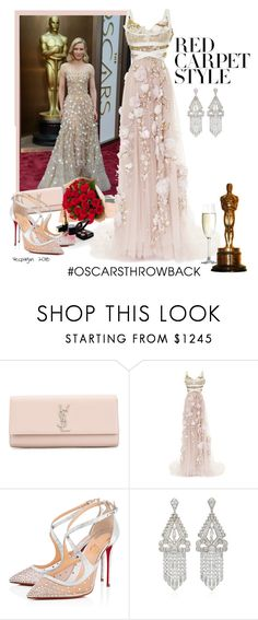 """""""Ready for the Oscars"""" by vespagirl ❤ liked on Polyvore featuring Yves Saint Laurent, Marchesa, Chanel, Christian Louboutin, Spiegelau, redcarpetstyle and OscarsThrowback"""