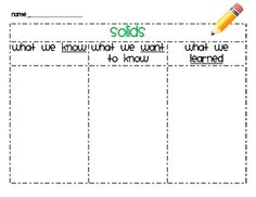 Freebie!  Individual KWL charts for solids, liquids, and gases.