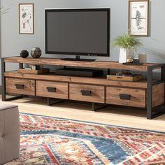 "Kylee Solid Wood TV Stand for TVs up to 94 "" - rustic living room furniture Tv Furniture, Pallet Furniture, Rustic Furniture, Furniture Stores, Cheap Furniture, Luxury Furniture, Furniture Ideas, Wooden Living Room Furniture, Furniture Layout"