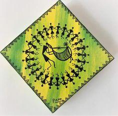 Warli Painting - Tarpa Dance - Acrylic on Canvas Bird Painting Acrylic, Worli Painting, Fabric Painting, Madhubani Art, Madhubani Painting, Mandala Drawing, Mandala Art, African Art Paintings, Indian Folk Art