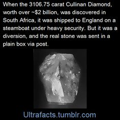 When a 3106.75 carat diamond was found in South Africa, how was it shipped to England?