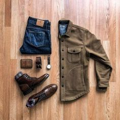 Outfit grid - Brown jacket and jeans Outfit Grid, Fashion Mode, Fashion Outfits, Fashion Trends, Style Fashion, Fashion Boots, Fashion Inspiration, Casual Outfits, Men Casual