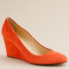 J.Crew Martina suede wedges ($120) ❤ liked on Polyvore featuring shoes, wedges, jcrew, orange, women, orange high heel shoes, high heel shoes, wedge shoes, orange wedge shoes and high heeled footwear
