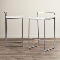 "Wade Logan 25.5"" Bar Stool (Set of 2) Upholstery: White"