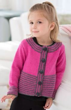 Sweet & Simple Cardigan pattern by Heather Lodinsky This cute cardigan is perfect to make for a little girl who is special in your life. Knit in a bright shade with grey accents, it's a modern look that girls will love! Kids Knitting Patterns, Knitting For Kids, Free Knitting, Crochet Patterns, Knit Cardigan Pattern, Baby Cardigan, Knit Or Crochet, Crochet Baby, Knitted Baby