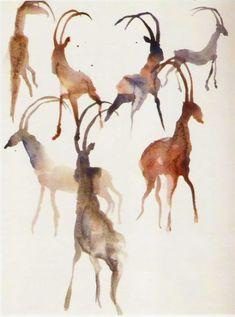 Miquel Barceló Watercolor Landscape, Watercolor And Ink, Watercolor Paintings, Watercolors, African Paintings, African Art, Animal Drawings, Art Drawings, Miquel Barcelo