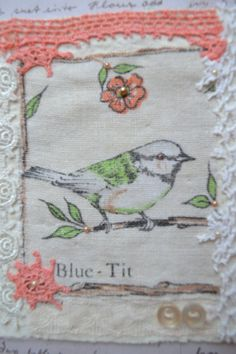 Textile Art  Fabric Bird  Crochet  pearl beads  by Raspberrytreats