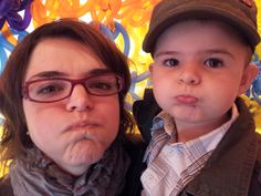 Me and Finn at Olek's Crocheted Balloon Funhouse at the Krause Gallery