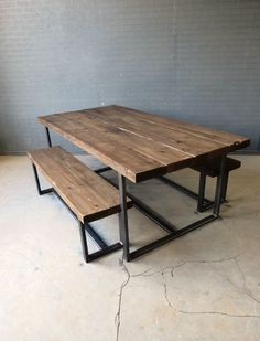 Reclaimed Industrial Chic 6-8 Seater Solid Wood & Metal Dining Table.Bar & Cafe | eBay