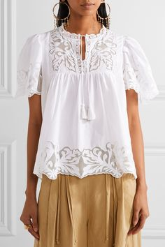 9e52ce31f1361 SEA - Crochet and tulle-trimmed cotton-poplin blouse